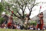 Sinniah Maunaguru and his drama troupe from the Eastern University, Batticaloa, present excerpts from a Tamil folk play Ravanesan at Thomas Gall International School.