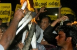 Karu Jayasuriya at the protest